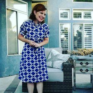 Ann Taylor Petite Blue Button-up Dress